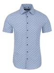 Blue Cogs Print Short Sleeve Men's Shirt | Stone Rose Short Sleeves Shirts | Fine Men's Clothing