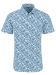 Blue Cannabis Leaves Knit Short Sleeve Shirt | Stone Rose Short Sleeves Shirts | Fine Men's Clothing