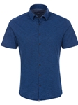 Navy Flame Knit Men's Short Sleeve Shirt | Stone Rose Short Sleeves Shirts | Fine Men's Clothing