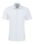 Light Blue Geometric Knit Short Sleeve Shirt | Stone Rose Short Sleeves Shirts | Fine Men's Clothing