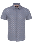Navy Fish Print Knit Short Sleeve Shirt | Stone Rose Short Sleeves Shirts | Fine Men's Clothing
