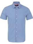Blue Stripe Print Men's Short Sleeve Shirt | Stone Rose Short Sleeves Shirts | Fine Men's Clothing