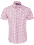 Dark Pink Pineapple Print Short Sleeve Shirt | Stone Rose Short Sleeves Shirts | Fine Men's Clothing