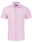 Pink Sailboat Print Knit Short Sleeve Shirt | Stone Rose Short Sleeves Shirts | Fine Men's Clothing