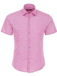Pink Striped Knit Men's Short Sleeve Shirt | Stone Rose Short Sleeves Shirts | Fine Men's Clothing