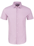 Dark Pink Cogs Print Short Sleeve Shirt | Stone Rose Short Sleeves Shirts | Fine Men's Clothing