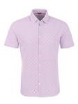 Dark Pink Geometric Knit Short Sleeve Shirt | Stone Rose Short Sleeves Shirts | Fine Men's Clothing