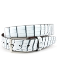 White/Black Hand Stained Nile Crocodile Belt | Torino Leather Exotic Belts | Sam's Tailoring Fine Men Clothing