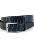 Navy/Royal Hand Stained Nile Crocodile Belt | Torino Leather Exotic Belts | Sam's Tailoring Fine Men Clothing