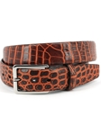 Cognac/Tan Hand Stained Nile Crocodile Belt | Torino Leather Exotic Belts | Sam's Tailoring Fine Men Clothing