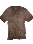 Coffee Dyed Washed V-Neck Men's T-Shirt | Georg Roth V-Neck T-shirts | Sam's Tailoring Fine Men Clothing