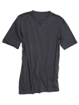 Grey Pima Cotton Short Sleeves V-Neck T-shirt | Georg Roth V-Neck T-shirts | Sam's Tailoring Fine Men Clothing