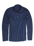 Indigo Pima Cotton Long Sleeves Men's Polo | Georg Roth Los Angeles Polos | Sam's Tailoring Fine Men Clothing