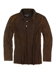Brown Garment Dyed Long Sleeves Mens Polo | Georg Roth Los Angeles Polos | Sam's Tailoring Fine Men Clothing