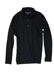 Black Pima Cotton Long Sleeves Mens Polo | Georg Roth Los Angeles Polos | Sam's Tailoring Fine Men Clothing