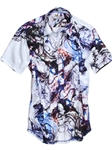 White Multi Printed Short Sleeves Men's Shirt | Georg Roth Short Sleeves Shirts | Sams Tailoring Fine Mens Clothing