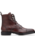 Antique Wine Alligator & Italian Calf Gino Boot | Belvedere Shoes Collection | Sam's Tailoring Fine Mens Clothing