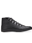 Black Crocodile & Calf Angelo Men Sneaker | Belvedere Shoes Collection | Sam's Tailoring Fine Mens Clothing