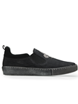 Black Nubuck Lizard Kane Men's Sneaker | Belvedere Shoes Collection | Sam's Tailoring Fine Mens Clothing