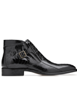 Black Ostrish Gregg Men's Ankle Boot | Belvedere Shoes Collection | Sam's Tailoring Fine Mens Clothing