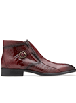 Antique Scarlet Red Ostrich Gregg Ankle Boot | Belvedere Shoes Collection | Sam's Tailoring Fine Mens Clothing