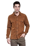 Cocoa Midtown Goat Suede Men's Shirt | Aston Leather Jackets Collection | Sam's Tailoring Fine Men Clothing