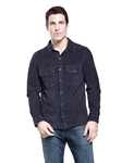 Navy Midtown Goat Suede Men's Shirt | Aston Leather Jackets Collection | Sam's Tailoring Fine Men Clothing