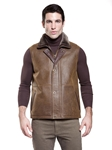 Rugged Whiskey Shearling Men's Vest | Aston Leather Shearling Collection | Sam's Tailoring Fine Men Clothing