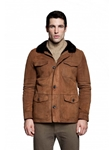 Suede Cocoa Franklin Men's Shearling Jacket | Aston Leather Shearling Collection | Sam's Tailoring Fine Men Clothing
