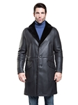 Silky Charcoal Madison Men Shearling Coat | Aston Leather Shearling Collection | Sam's Tailoring Fine Men Clothing