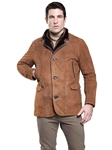 Suede Cocoa Westport Men Shearling Jacket | Aston Leather Shearling Collection | Sam's Tailoring Fine Men Clothing