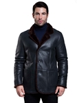Rugged Black/Brown Rye Men Shearling Jacket | Aston Leather Shearling Collection | Sam's Tailoring Fine Men Clothing