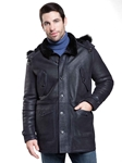 Rugged Navy Fargo Men's Shearling Jacket | Aston Leather Shearling Collection | Sam's Tailoring Fine Men Clothing