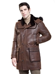 Rugged Cocoa Valier Mens Shearling Jacket | Aston Leather Shearling Collection | Sam's Tailoring Fine Men Clothing