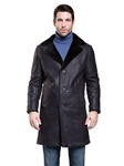 Rugged Black Tone/Tone Fulton Shearling Coat | Aston Leather Shearling Collection | Sam's Tailoring Fine Men Clothing