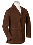 Chocolate Thomas Solid Suede Men Car Coat | Bobby Jones Coats Collection | Sams Tailoring Fine Men Clothing