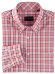 Red Bowie Chambray Grid Long Sleeve Men Sport Shirt | Bobby Jones Shirts Collection | Sams Tailoring Fine Men's Clothing