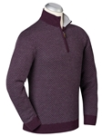Merlot Merino Wool Swiss Jacquard Quarter Zip Sweater | Bobby Jones Sweaters Collection | Sams Tailoring Fine Men's Clothing