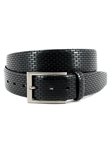 Black Italian Lasered Geometric Embossed Calfskin Belt | Torino Leather Belts | Sam's Tailoring Fine Men Clothing