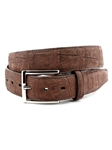 Brown Genuine Nubuck American Alligator Belt | Torino Leather Belts | Sam's Tailoring Fine Men Clothing