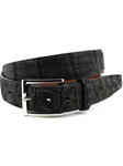Black Genuine Nubuck American Alligator Belt | Torino Leather Belts | Sam's Tailoring Fine Men Clothing