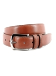 Brandy Contrast Stitched Italian Soft Calfskin Belt | Torino Leather Belts | Sam's Tailoring Fine Men Clothing