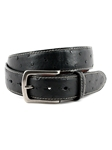 Black Contrast Stitched Genuine South African Ostrich Belt | Torino Leather Belts | Sam's Tailoring Fine Men Clothing
