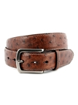Antique Saddle Contrast Stitched South African Ostrich Belt | Torino Leather Belts | Sam's Tailoring Fine Men Clothing