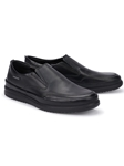 Black Smooth Leather Ultra Light Slip On Shoe | Mephisto Loafers Collection | Sam's Tailoring Fine Men Clothing
