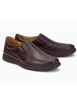 Dark Brown Smooth Leather Ultra Light Slip On Shoe | Mephisto Loafers Collection | Sam's Tailoring Fine Men Clothing