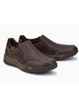 Dark Brown Suede Smooth Leather Slip On Shoe | Mephisto Loafers Collection | Sam's Tailoring Fine Men Clothing