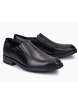 Black Smooth Leather Lined Men's Slip On Shoe | Mephisto Loafers Collection | Sam's Tailoring Fine Men Clothing