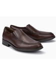 Dark Brown Smooth Leather Lined Men's Slip On Shoe | Mephisto Loafers Collection | Sam's Tailoring Fine Men Clothing