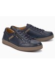 Navy Smooth Leather Mobils Fine Men's Sneaker | Mephisto Causal Shoes | Sam's Tailoring Fine Men Clothing